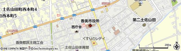 高知県香美市周辺の地図