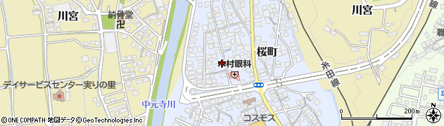 福岡県田川市桜町周辺の地図
