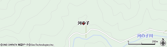 愛媛県久万高原町(上浮穴郡)河の子周辺の地図
