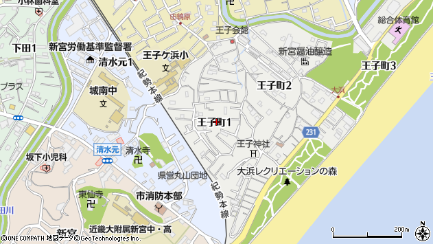 〒647-0032 和歌山県新宮市王子町の地図