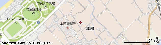 愛媛県伊予市本郡周辺の地図