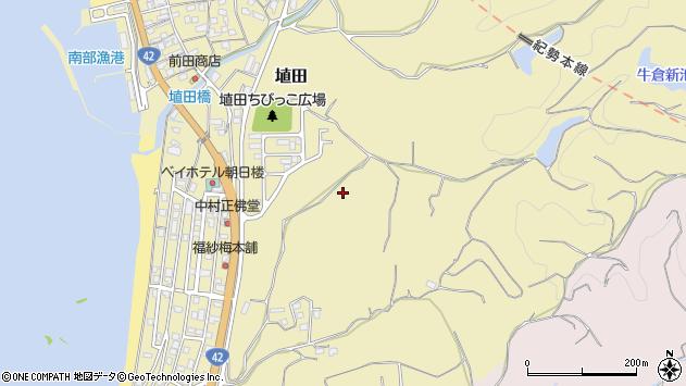 〒645-0004 和歌山県日高郡みなべ町埴田の地図
