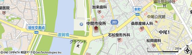 福岡県中間市周辺の地図
