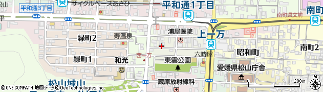 愛媛県松山市中一万町周辺の地図