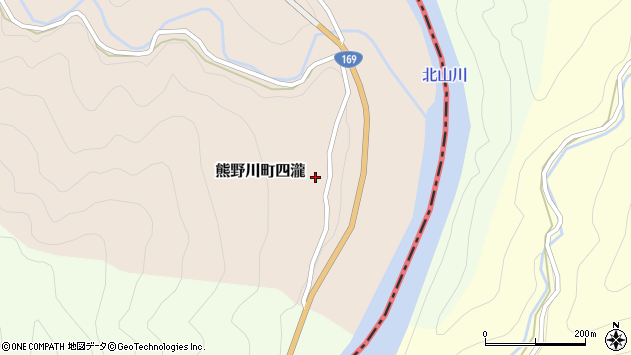 〒647-1234 和歌山県新宮市熊野川町四滝の地図