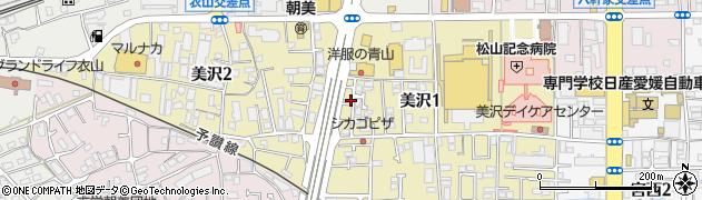 愛媛県松山市美沢周辺の地図
