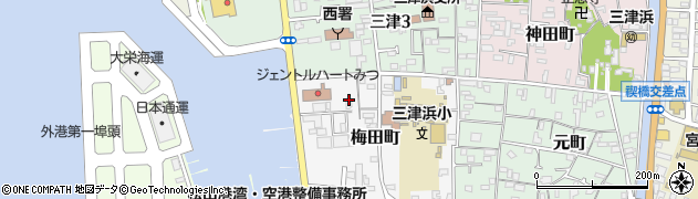 愛媛県松山市梅田町周辺の地図