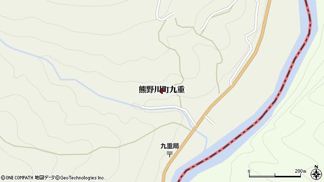 〒647-1233 和歌山県新宮市熊野川町九重の地図