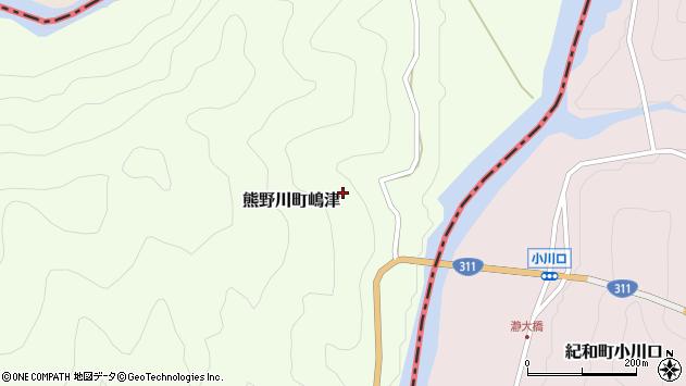 〒647-1232 和歌山県新宮市熊野川町嶋津の地図