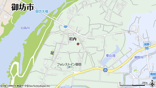 〒644-0032 和歌山県御坊市岩内の地図