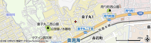 福岡県北九州市若松区童子丸周辺の地図