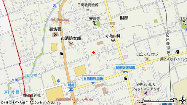 〒644-0011 和歌山県御坊市湯川町財部の地図