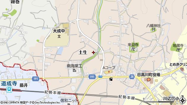 〒649-1324 和歌山県日高郡日高川町土生の地図