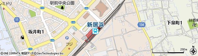 愛媛県新居浜市周辺の地図