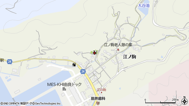 〒649-1104 和歌山県日高郡由良町江ノ駒の地図