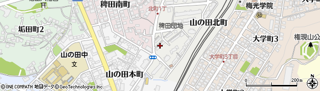 稗田団地周辺の地図