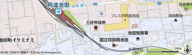 徳島県三好市周辺の地図
