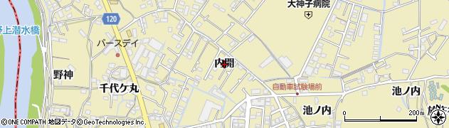 徳島県徳島市大原町(内開)周辺の地図