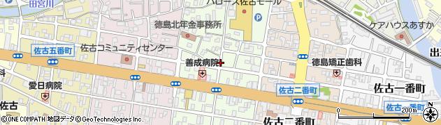 徳島県徳島市佐古三番町周辺の地図