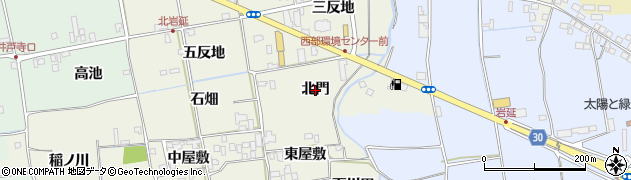 徳島県徳島市国府町北岩延(北門)周辺の地図
