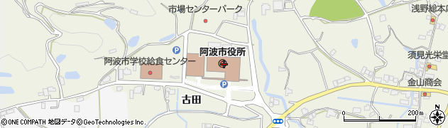 徳島県阿波市周辺の地図