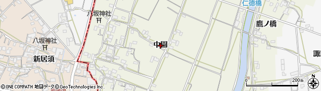 徳島県徳島市応神町西貞方(中園)周辺の地図