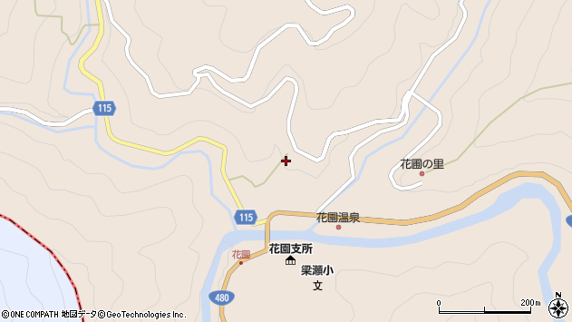 〒643-0611 和歌山県伊都郡かつらぎ町花園梁瀬の地図