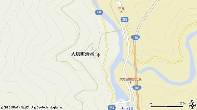 〒637-0406 奈良県五條市大塔町清水の地図
