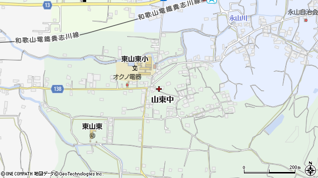 〒640-0303 和歌山県和歌山市山東中の地図
