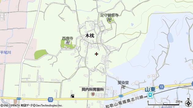 〒640-0301 和歌山県和歌山市木枕の地図