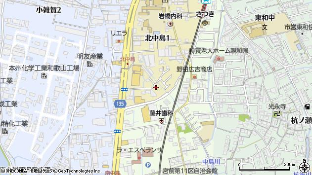 〒641-0008 和歌山県和歌山市北中島の地図
