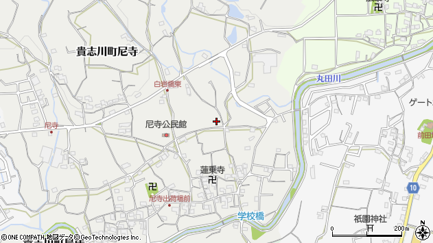 〒640-0403 和歌山県紀の川市貴志川町尼寺の地図