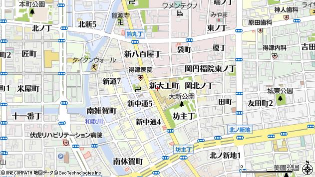 〒640-8372 和歌山県和歌山市新大工町の地図