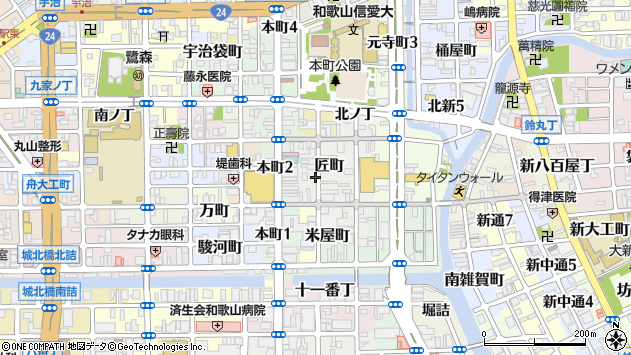 〒640-8028 和歌山県和歌山市匠町の地図