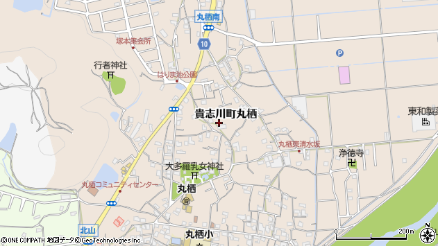 〒640-0401 和歌山県紀の川市貴志川町丸栖の地図