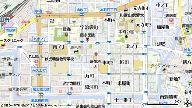 〒640-8031 和歌山県和歌山市北大工町の地図