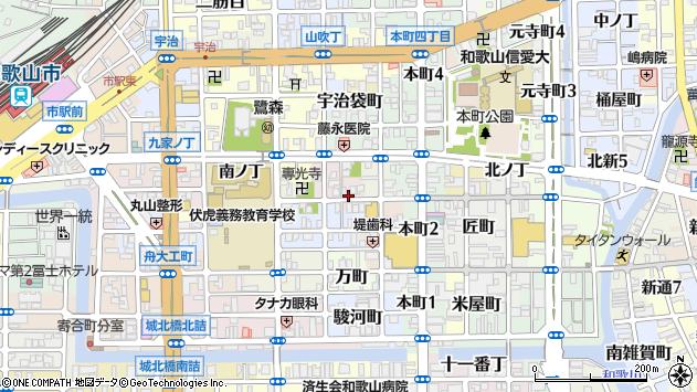 〒640-8037 和歌山県和歌山市西大工町の地図
