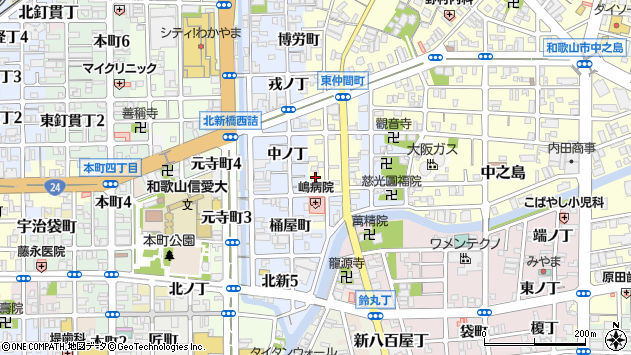 〒640-8014 和歌山県和歌山市西仲間町の地図