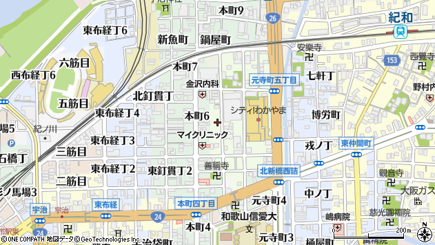 〒640-8007 和歌山県和歌山市元寺町西ノ丁の地図