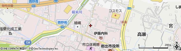 和歌山県岩出市西野周辺の地図