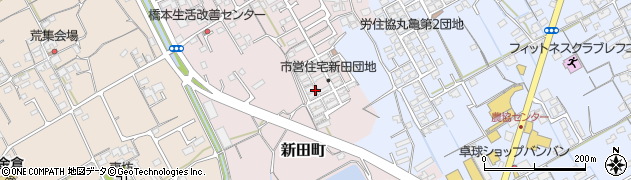 香川県丸亀市新田町周辺の地図