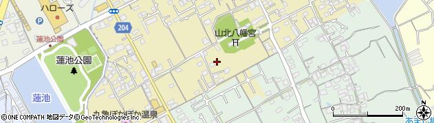 香川県丸亀市山北町道上周辺の地図