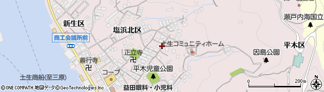 広島県尾道市因島土生町(塩浜東区)周辺の地図