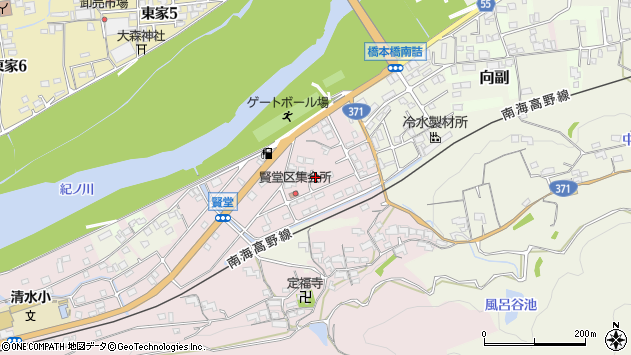〒648-0037 和歌山県橋本市賢堂の地図