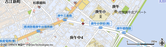 庚午三差路(東)周辺の地図