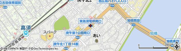 東高須電停南口周辺の地図