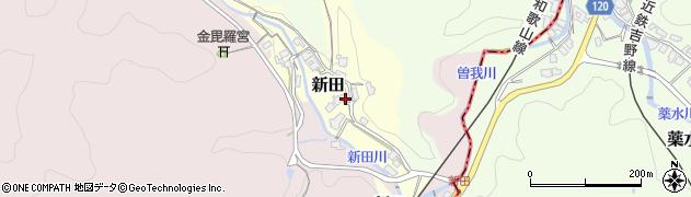 奈良県御所市新田周辺の地図