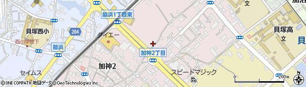 大阪府貝塚市加神周辺の地図