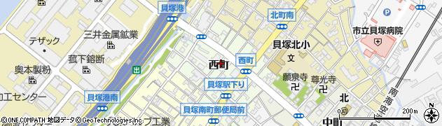 大阪府貝塚市西町周辺の地図