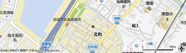 大阪府貝塚市北町周辺の地図